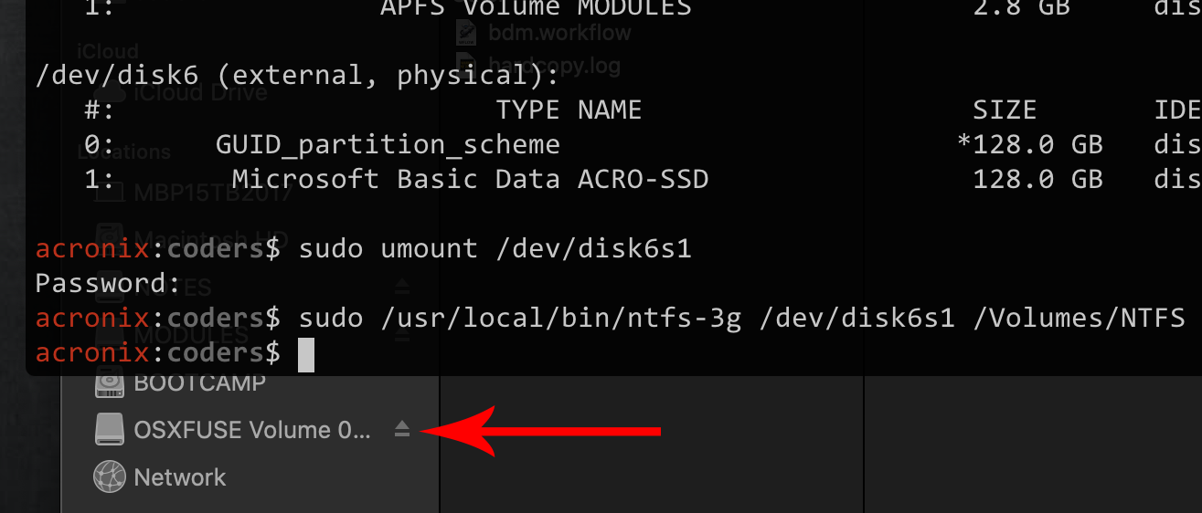 Manually Mounting NTFS Drive as R/W on MacOS